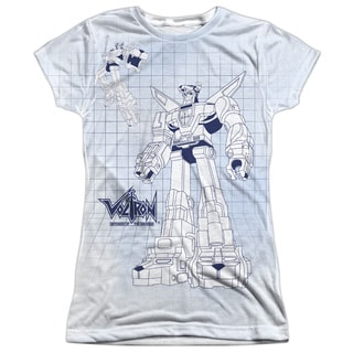 Voltron/Blueprint Short Sleeve Junior 100-percent Poly Crew in White