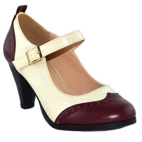 Chase & Chloe CE36 Women's Mid-heel 2-tone Faux Leather Mary Jane Pumps