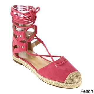 CHASE & CHLOE CE32 Women's Flat Espadrilles Lace-up Calf Sandals