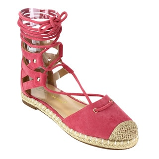 CHASE & CHLOE CE32 Women's Flat Espadrilles Lace-up Calf Sandals