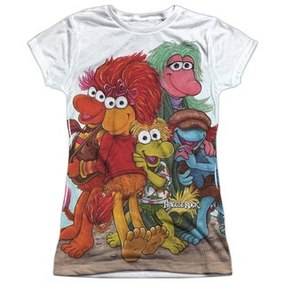 Fraggle Rock/Group Shot Short Sleeve Junior 100-percent Poly Crew in White