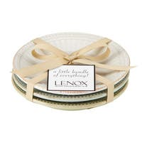 Lenox French Perle Groove Everything Collection Multicolored Stoneware 4-inch Textured Plates (Set of 3)