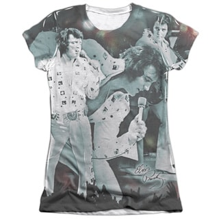 Elvis/Now Playing Short Sleeve Junior Poly/Cotton Crew in White