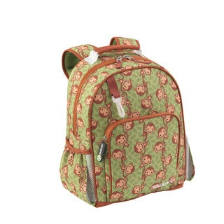 Kid Kraft Green-and-orange Polyester Monkey Print Backpack