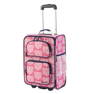 KidKraft Pink and White Polyester Damask 18-inch Carry-on Rolling Suitcase