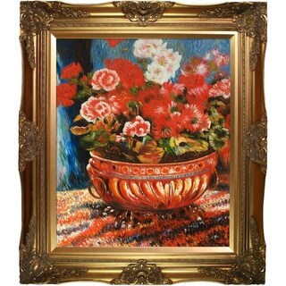 Pierre-Auguste Renoir 'Geraniums in a Copper Basin' Hand Painted Framed Canvas Art