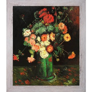 Vincent Van Gogh 'Vase with Zinnias and Geraniums' Hand Painted Framed Canvas Art