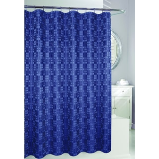 Blue Polyester Geometric Shower Curtain