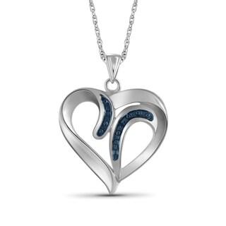 Jewelonfire Sterling Silver Blue Diamond Accent Heart Pendant