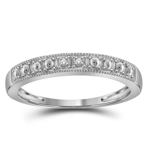 Jewelonfire Sterling Silver White Diamond Accent Band Ring