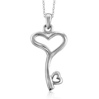 Jewelonfire Sterling Silver Metal Heart Key Pendant