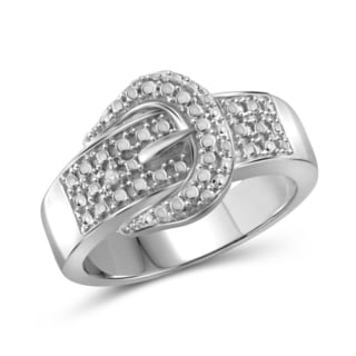 Jewelonfire Sterling Silver White Diamond Accent Buckle Ring