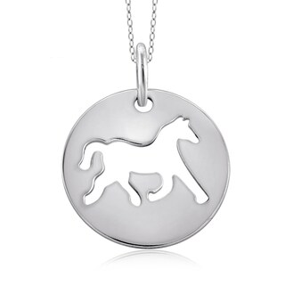Jewelonfire Sterling Silver Metal Horse Charm Pendant - White