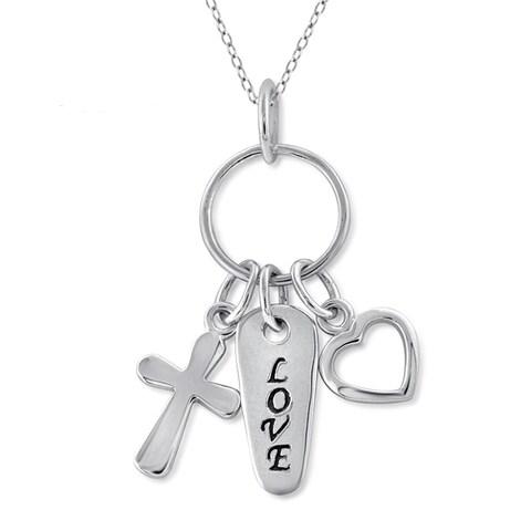 Jewelonfire Sterling Silver Metal 'Love' Charm Pendant - White