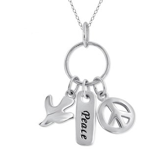 Jewelonfire Sterling Silver Metal 'Peace' Charm Pendant