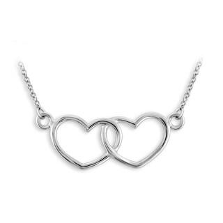 Jewelonfire Sterling Silver Metal Double Heart Pendant - White