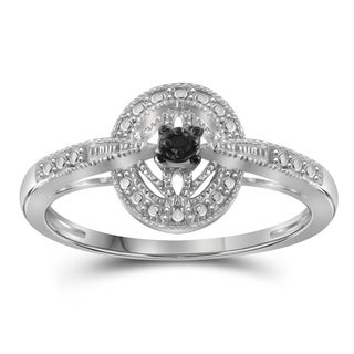 Jewelonfire Sterling Silver Black Diamond Accent Ring