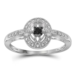 Jewelonfire Sterling Silver Black Diamond Accent Ring  - White