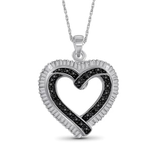 Jewelonfire Sterling Silver Black and White Diamond Accent Heart Pendant