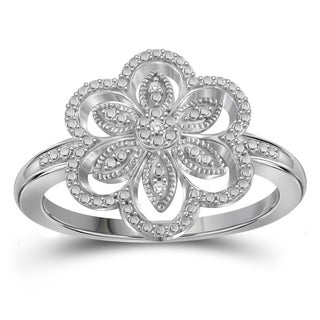 Jewelonfire Sterling Silver White Diamond Accent Flower Ring