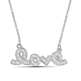 Jewelonfire Sterling Silver White Diamond Accent 'Love' Pendant
