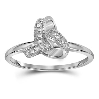 Jewelonfire Sterling Silver White Diamond Accent Love Knote Ring