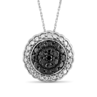 Jewelonfire Sterling Silver Black Diamond Accent Flower Pendant