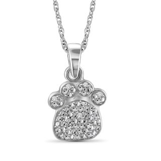 Jewelonfire Sterling Silver White Diamond Accent Paw Pendant