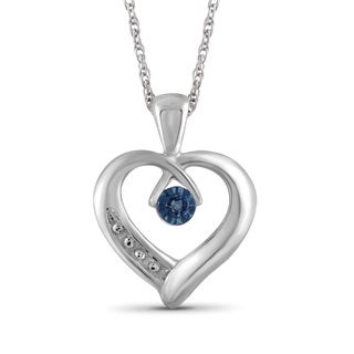 Jewelonfire Sterling Silver Blue Diamond Accent Heart Pendant