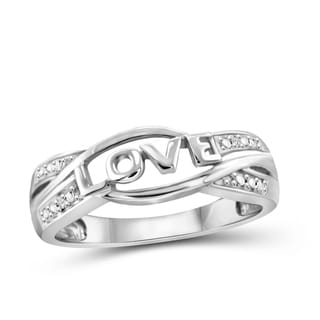Jewelonfire Sterling Silver White Diamond Accent 'Love' Ring