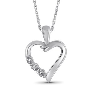Jewelonfire Sterling Silver White Diamond Accent Heart Pendant