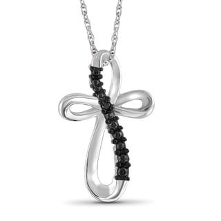 Jewelonfire Sterling Silver Black Diamond Accent Cross Pendant