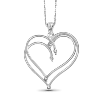 Jewelonfire Sterling Silver White Diamond Accent Double Heart Pendant