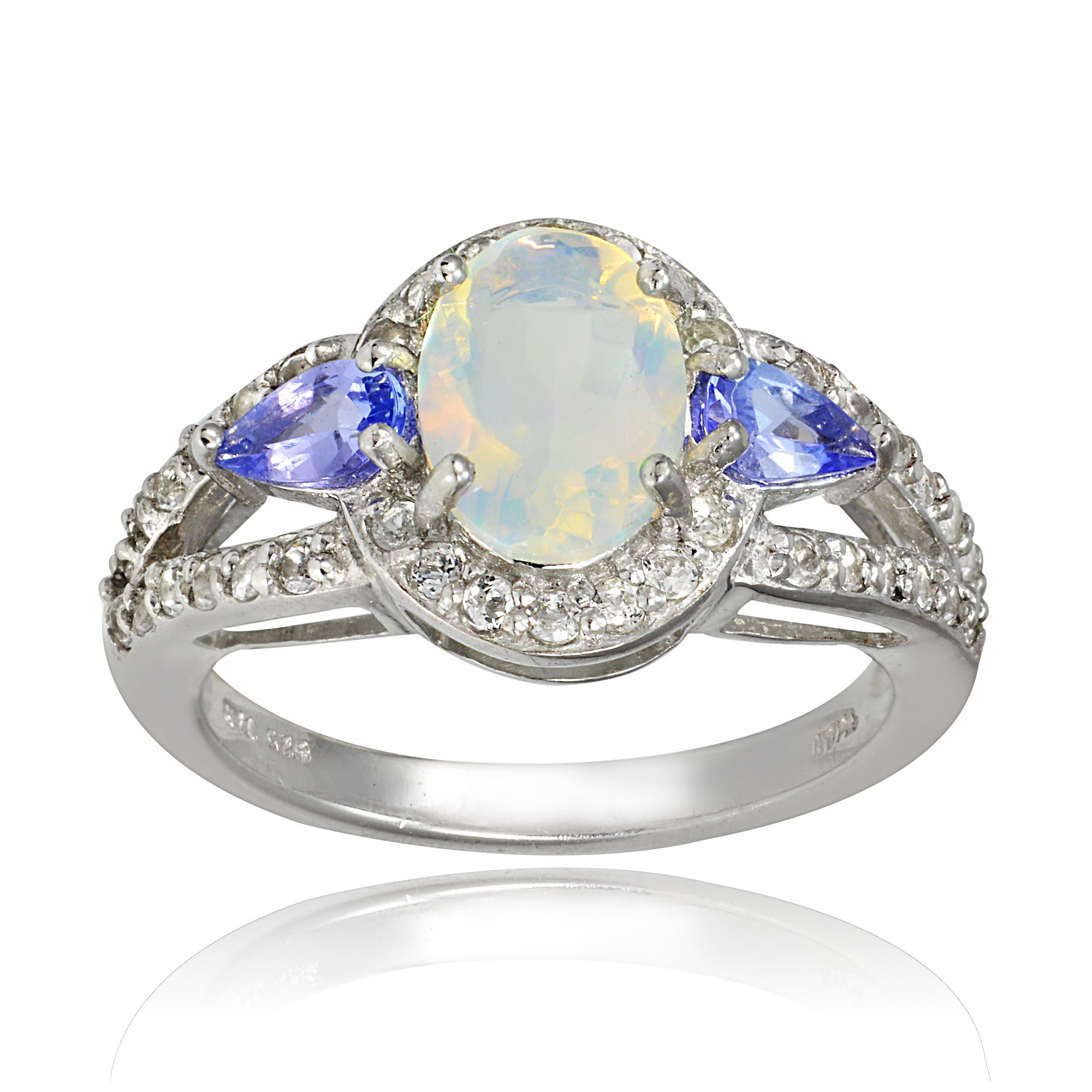 Glitzy Sterling Silver Ethiopian Opal Gemstone Ring (5 - ...