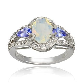 Glitzy Rocks Sterling Silver Ethiopian Opal Gemstone Ring