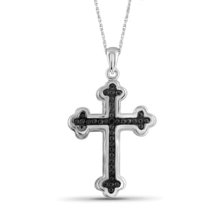 Jewelonfire Sterling Silver Black Diamond Accent Cross Pendant