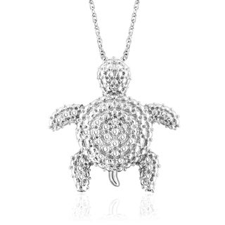 Jewelonfire Sterling Silver White Diamond Accent Tortoise Pendant
