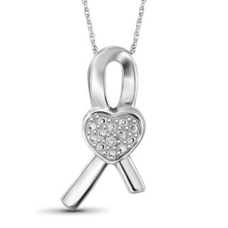 Jewelonfire Sterling Silver White Diamond Accent Ribbon Heart Pendant