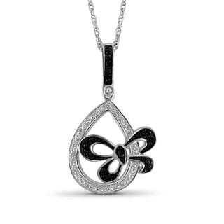 Jewelonfire Sterling Silver Black Diamond Accent Tear Drop Pendant