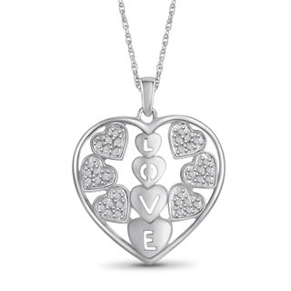 Jewelonfire Sterling Silver White Diamond Accent Heart Pendant