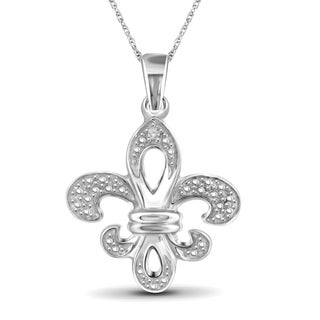 Jewelonfire Sterling Silver White Diamond Accent Fleur-de-Lis Pendant