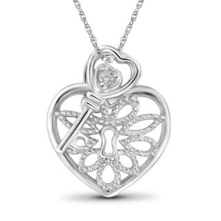 Jewelonfire Sterling Silver White Diamond Accent Heart Lock-Key Pendant
