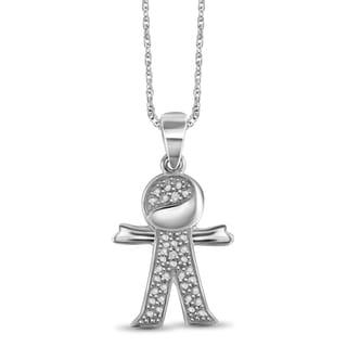 Jewelonfire Sterling Silver White Diamond Accent Boy Pendant