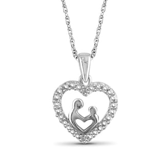 Jewelonfire Sterling Silver White Diamond Accent Mom and Child Heart Pendant