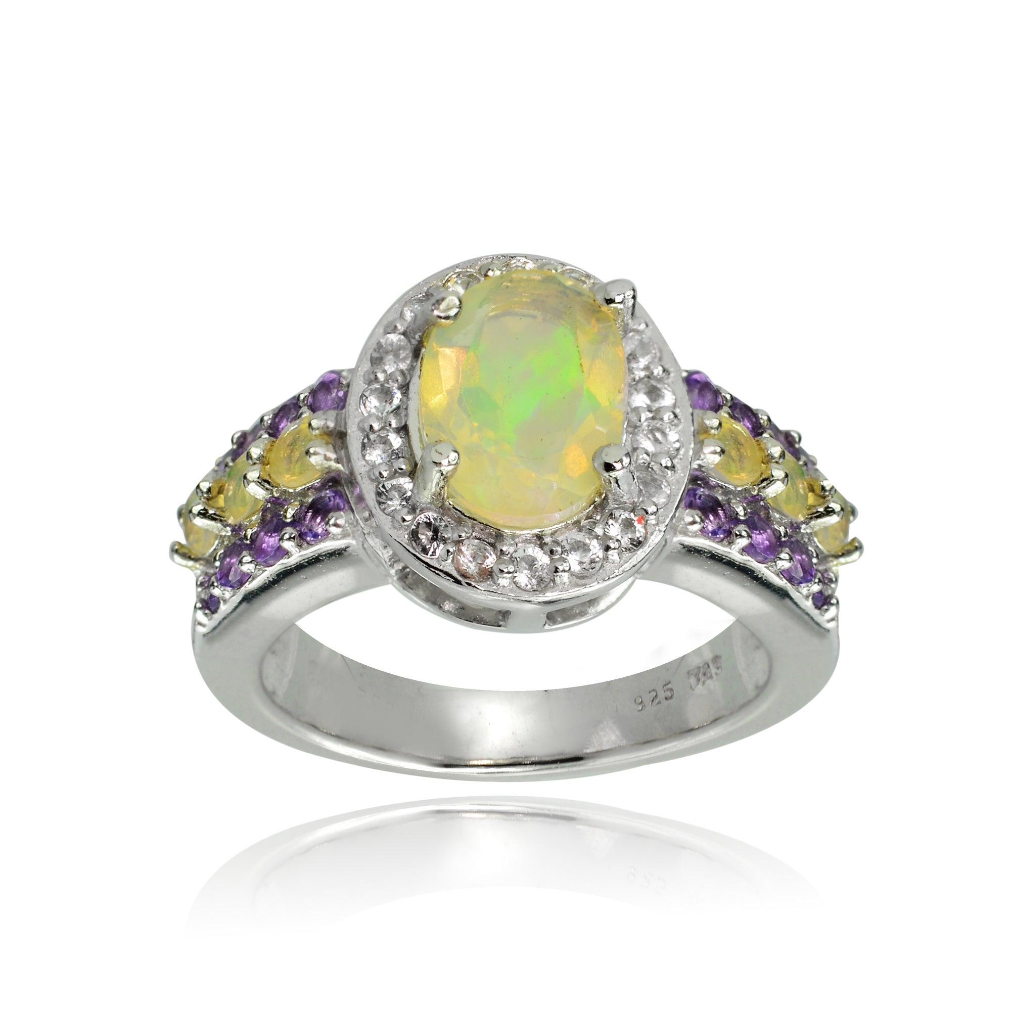 Glitzy Sterling Silver Ethiopian Opal, African Amethyst a...