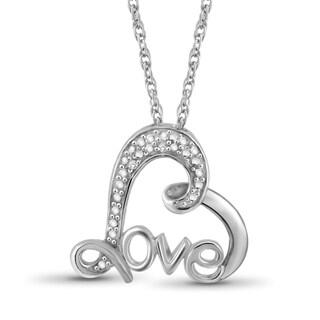 Jewelonfire Sterling Silver White Diamond Accent Love Heart Pendant