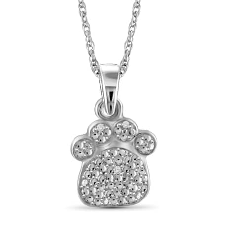 Jewelonfire Sterling Silver White Diamond Accent Paw Print Pendant