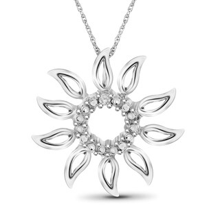 Jewelonfire Sterling Silver White Diamond Accent Sun Flower Pendant