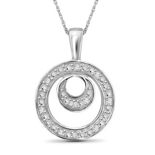 Jewelonfire Sterling Silver White Diamond Accent Double Circle Pendant