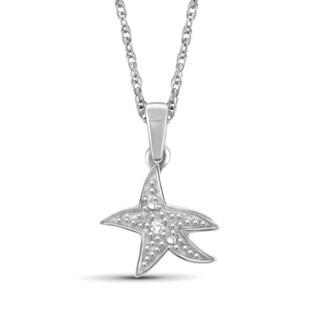 Jewelonfire Sterling Silver White Diamond Accent Starfish Pendant
